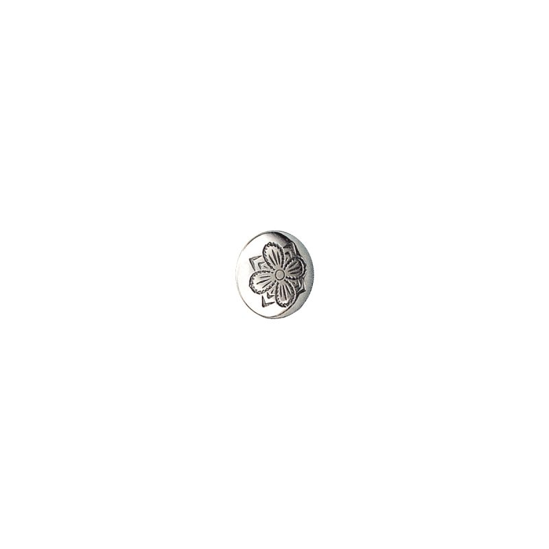 086113 - Knapp 16 mm med lang hempe, oksidert