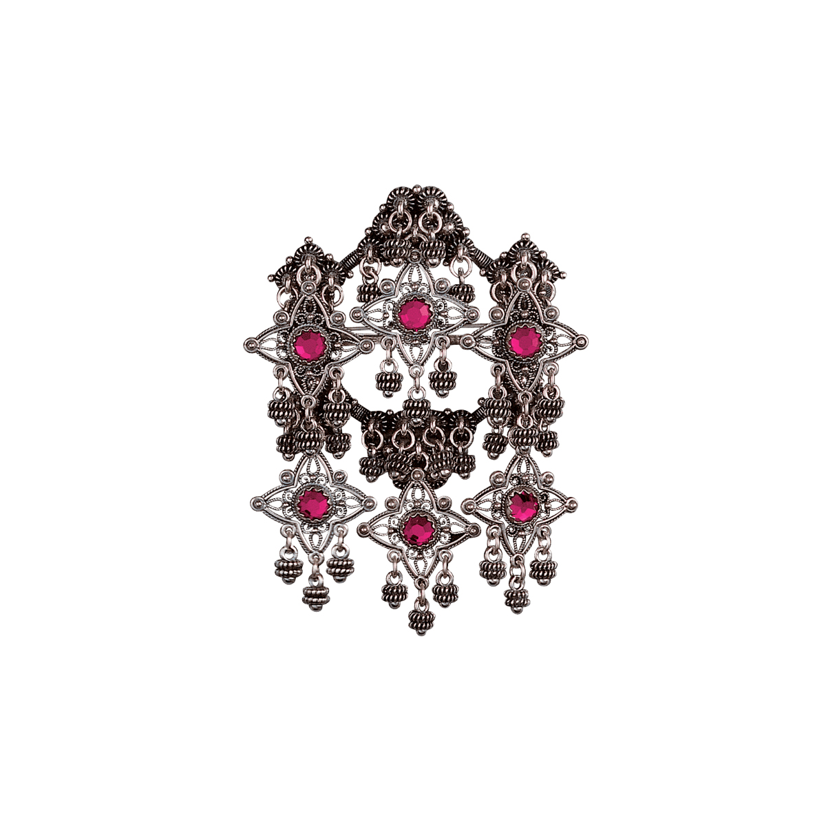 224110 - Sølje med rosa stein, oksidert