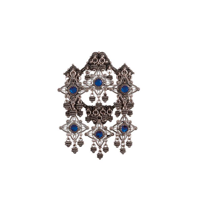 224129 - Sølje med blå stein, oksidert