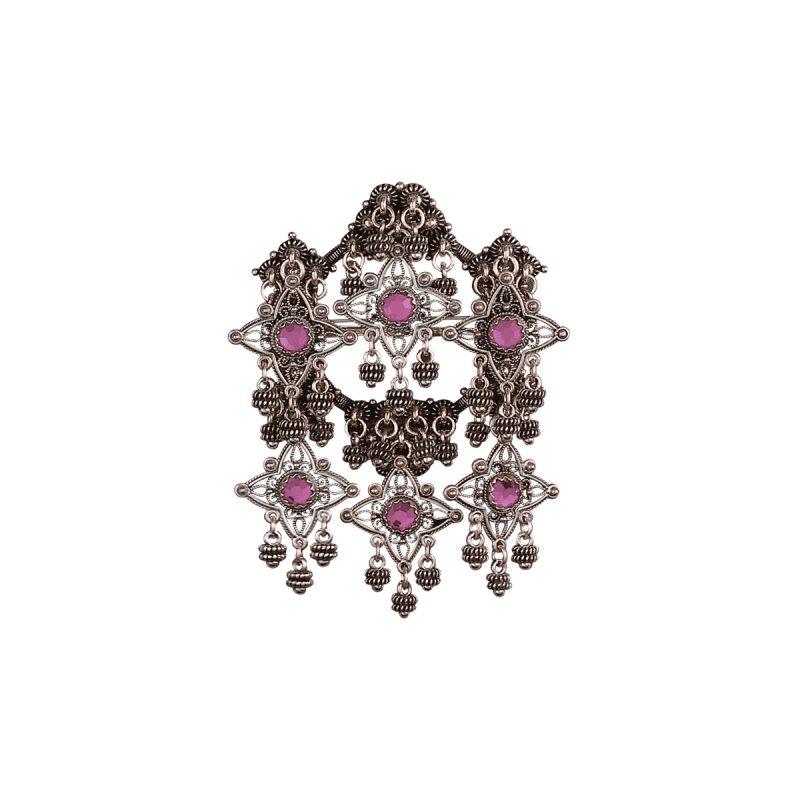 224130 - Sølje med lilla stein, oksidert