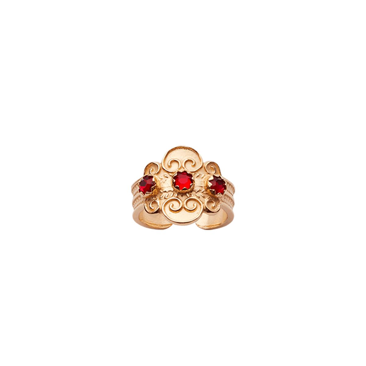 317607 - Ring med raud stein, forgylt
