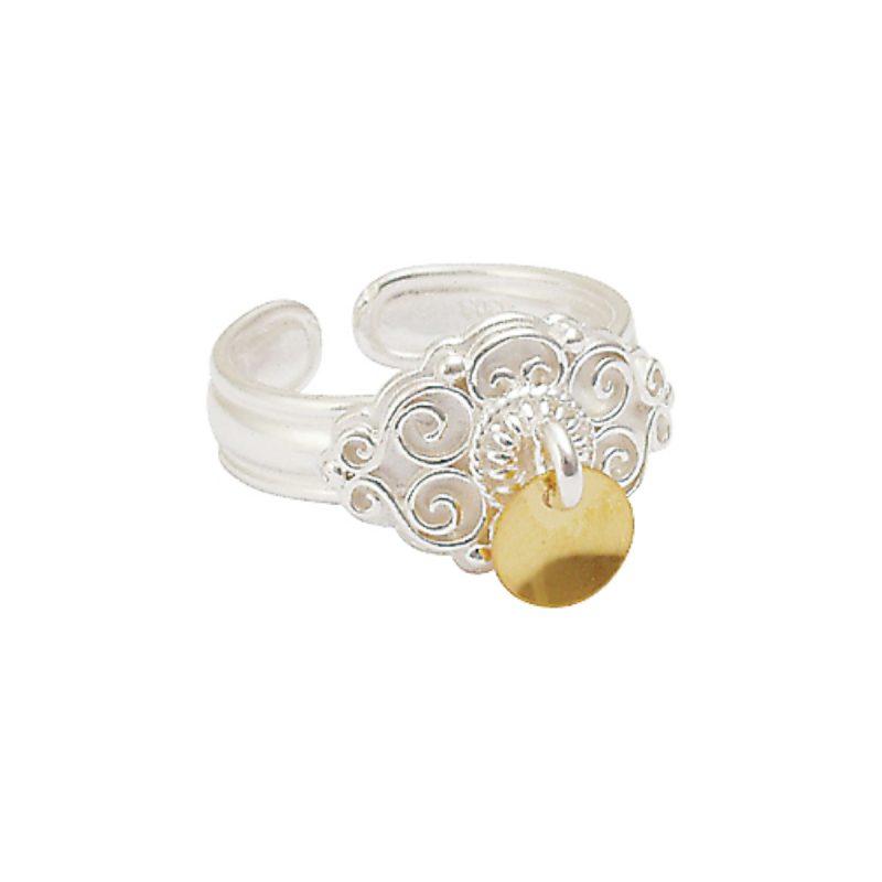 377502 - Ring, kvit med forgylt lauv