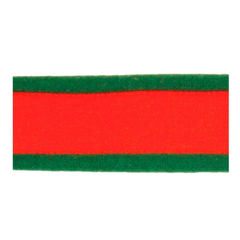 535009 - Stofflist, raud med grøn kant